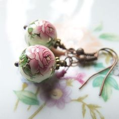 fresh spring earrings  romantic  rose  delicate by KicaBijoux, $18.00