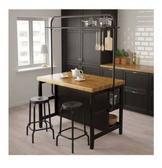 VADHOLMA kitchen island with frame – black, oak – IKEA Germany – diy kitchen ideas Kitchen Stand, Freestanding Kitchen Island, Kitchen Remodel, Kitchen Design, Kitchen Decor, Modern Kitchen, Small Kitchen, Ikea Kitchen Island, Kitchen Style