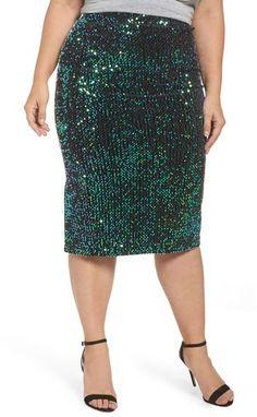 Plus Size Women's Lost Ink Sequin Pencil Skirt