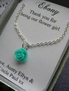 Flowergirl gifts, small sized rose necklace, personalized notecards, free jewelry box. Multiple order discount available.