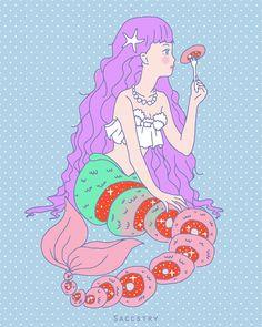 hello i'm saccstry and i love drawing creepy cute girls, surrealism, and gore Candy Gore, Ero Guro, Gifs, Mermaids And Mermen, Creepy Art, Pastel Art, Environmental Art, Cute Illustration, Dark Art