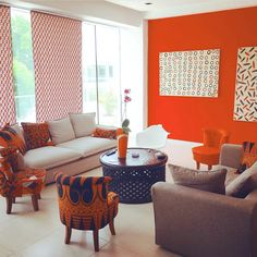 The AfroFusion Spot: Interior Design: Living Room Inspiration with African Print, Orange, Inspiration, Interior Design, African Interior Design, Diy Interior, Office Interior Design, Interior Design Living Room, Living Room Designs, African Design, Sofa Living, New Living Room, Living Room Decor