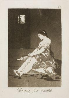 """Francisco de Goya: """"Por que fue sensible"""". Serie """"Los caprichos"""" [32]. Aquatint on paper, 215 x 151 mm, 1797-99. Museo Nacional del Prado, Madrid, Spain"""