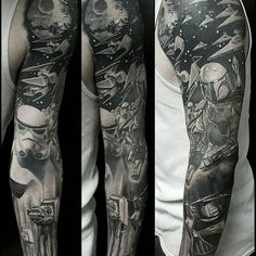 Black and grey Star Wars tattoo by #ChrisAdamek.