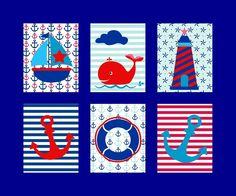 Kinderzimmer Poster Set Maritim Boot Anker (DIN A4 Glanz): Amazon ...