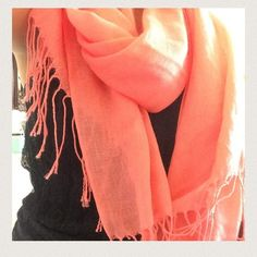 Coral scarf Only worn a few times. Beautiful coral scarf perfect for winter weather. Pet free and smoke free home. H&M Accessories Scarves & Wraps