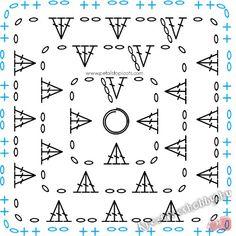 Granny Square Left Handed Crochet Stitch Diagram : Granny Square Left Handed Crochet Stitch Diagram via Petals to Picots Crochet Motif Patterns, Granny Square Crochet Pattern, Crochet Borders, Crochet Diagram, Crochet Chart, Crochet Squares, Crochet Granny, Hand Crochet, Bavarian Crochet