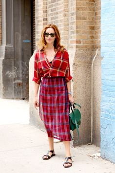 possibly the greatest plaid outfit ever. Ece in Dries in NYC. #EceSukan