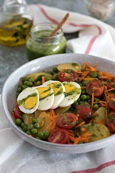 Receita de Salada de Batata, Ovo e Pesto