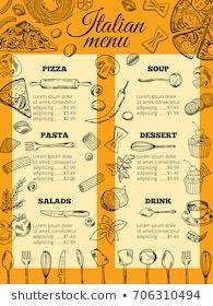 Images, photos et images vectorielles de stock similaires de Restaurant Food Menu Design Chalkboard Background - 196454786 similaires | Shutterstock Design Menu Pizza, Food Menu Design, Restaurant Brochure, Menu Restaurant, Italian Food Menu, Italian Recipes, Pizza Soup, Dessert Salads, Pasta
