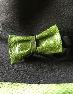 Green Leather bow tie for men exotic fish leather in forrst green or army green, one of our favourite colors from KRUMLA by DaWanda.com