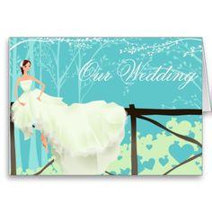 Blue Wedding Invitation Greeting Card