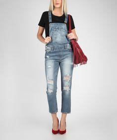 Love this Blue Jean Ripped Leg Crop Overalls on #zulily! #zulilyfinds