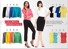 COLORFUL ESSENTIALS - Prime your work wardrobe for spring with shirts, cardigans and shells in a rainbow of shades.