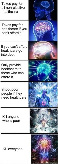 Expanding brain meme on taxes
