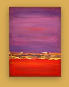 """Orginal Large Acrylic Abstract Painting on Gallery Canvas Titled: Red Dawn 7 30x40x1.5"""" by Ora Birenbaum. $365.00, via Etsy."""