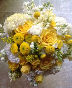 Summer Spring Bridal Bouquet made with Hydrangea, Roses, Buttons, Freesia, Stock, and Billy Balls (Craspedia)