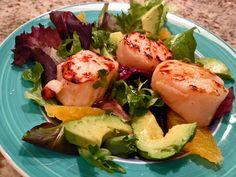 Avocado and Orange Salad with Charred Jalapeno Dressing (tasty minus the scallops!)