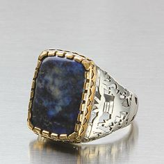 Men Silver Ring Natural Blue Lapis Gemstone 925 Sterling Silver 10.5 US size #JFM #Solitaire