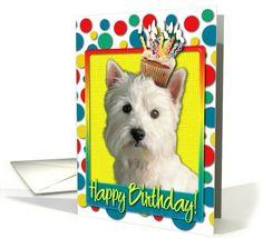 Westie / West Highland Terrier card: Birthday Cupcake - West Highland Terrier Greeting Card by Frankz Paw Printz