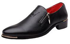 b1208d457b2 Dress Shoes Mens Casual Zipper Stylist Slip on Formal Wedding Party Oxford  by Santimon Black 10 D(M) US