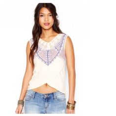 Free People Ivory Sahara Tank Top Intricate beading. Open knit crochet motif around the décolleté. Artful. Whimsy. Wearable fancy. Faux front wrap. 100% Cotton. True to size. Colour is closest in the covershot. Free People Tops Tank Tops