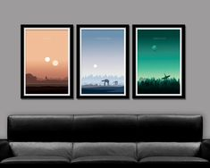 Our Sunset Set Includes - 3 Posters from our favorite trilogy of all time... enjoy!  13 x 19 (makes 39 x 19 inches when placed side by side) 24 x