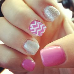My own pink and grey chevron nails