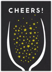 Cute for New Year's. Champagne email-able card. #indigo #magicalholiday