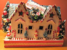 I love these decorated vintage putz houses Christmas Village Houses, Christmas Gingerbread House, Christmas Town, Gingerbread Houses, Christmas Villages, Little Christmas, All Things Christmas, Christmas Holidays, Christmas Decorations