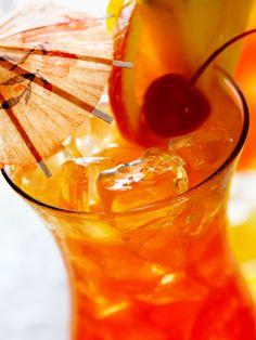 Tropical Depression 1 oz. Malibu Coconut Rum 1 oz. raspberry liqueur ½ oz. crème de banana 4 oz. pineapple juice ½ oz. orange juice ½ oz. cranberry juice Mix all ingredients in a Collins glass. Shake well and serve with an orange wheel and cherry.