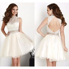Two Piece Short Prom Dress ! Beautiful Beaded Lace White Two Piece Short Homecoming Dresses High Neck Homecoming Dress Backless College Graduation Dress !
