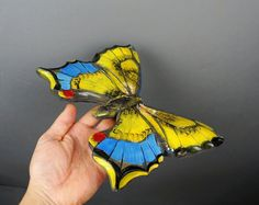 Yellow blue butterfly carving wood Art wall Unique by DavydovArt