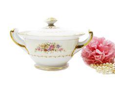 Noritake Vintage Wrocklage Fine Bone China Sugar Bowl, amarillo Pastel rosa bol Floral, flores de color rosa, hecho en Japón, tarro del caramelo, caja de joyería,