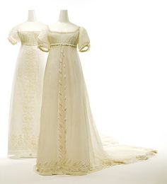 Some more Regency, as it is a favourite era of mine! I love the flowing fabrics used in ballgowns and how ethereal the gowns make a woman look. I adore the embroidering on these dresses! I don't know where these are from but it is most likely the Met...