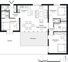 rsultat de recherche dimages pour plan maison 3 chambres plain pieds