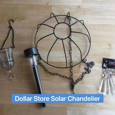 Solar Chandelier, Outdoor Chandelier, Dollar Tree Decor, Dollar Tree Crafts, Solar Light Crafts, Solar Lights, Backyard Lighting, Outdoor Lighting, Outdoor Projects