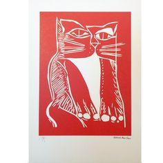 Aldemir Martins - Gravura assinada - Uma obra de arte na sua casa por um preço acessível! Red Cat, Etchings, Moldings, Home, Artworks, Gatos, Artists