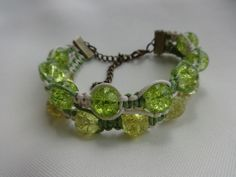 """Double #macrame #bracelet with glass beads """"Summer"""""""