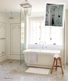 Tile, Lighting, Tub, and Fixtures all Put Together So Nicely! Find the Look for Less at Luxurybathforless.com