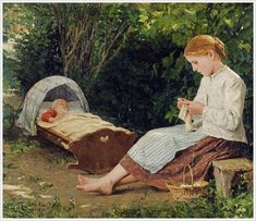 Albert Anker (Swiss, 1831-1910) «Knitting girl watching the toddler in a craddle» 1885