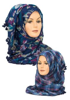 Blue Reversible Floral & Checked 2 in 1 Hijab     Available at www.hijabbella.com