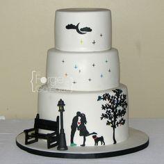 Silhouette wedding cake - La Forge à Gâteaux #SilhouetteWeddingCake #WeddingCake www.laforgeagateaux.com