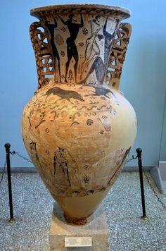 Vaso con scene di Perseo e Ulisse.  VII sec.a.C . Eleusi. Museo Archeologico