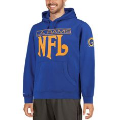 Men's Los Angeles Rams Mitchell & Ness Navy Passing Yards Pullover Hoodie