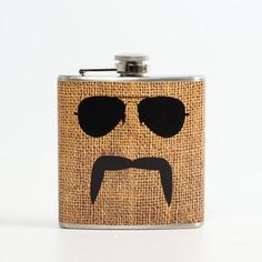 Liquid Courage: Aviator And Mustache On Burlap, At 25% Off!