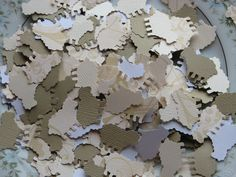 300 Hand Punched Lamb Sheep Confetti, Die Cut Punch Embellishment, Neutral Baby Shower