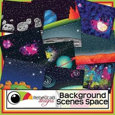 Background Scenes Space contains 10 colored and 10 black, white and grey Space themed background scenes for your products. Simply place your text and clip art over the background scene. Create product covers, posters, dioramas, worksheets, activities and other teaching resources. $5.00