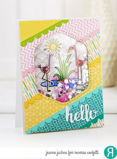 Card by Jeanne Jachna  (050517)  [Reverse Confetti (dies) Double Scallop Border, Hello & Thanks Label, Think Pink; (stamps) Think Pink]
