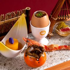 Kanaya's signature egg and selection of autumn vegetables
